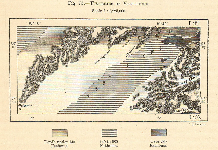 Associate Product Fisheries of Vest-Fiord. Vestfjord. Norway. Sketch map 1885 old antique