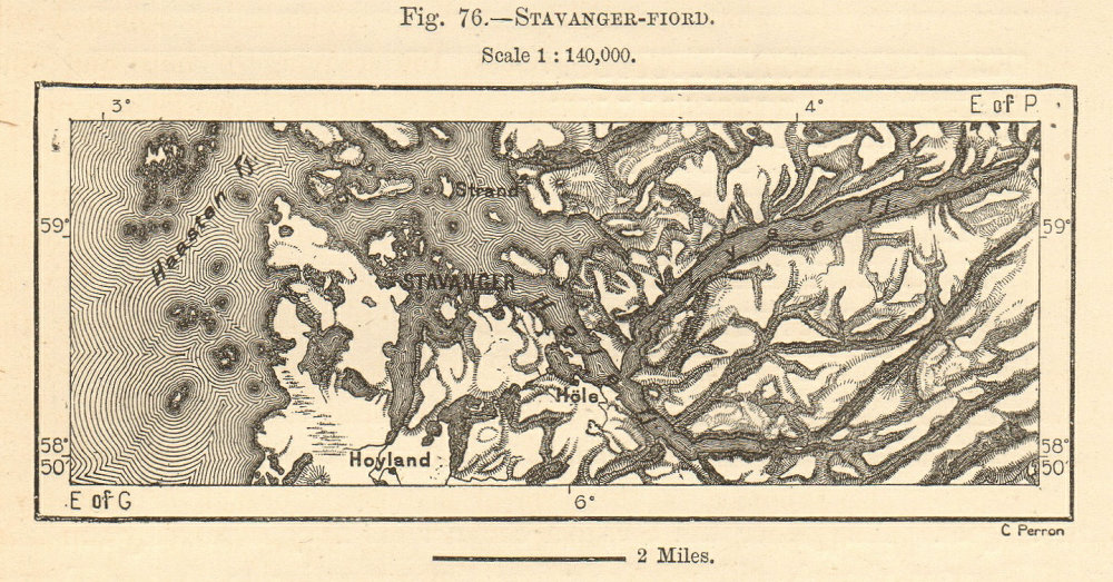 Associate Product Stavanger & environs. Boknafjorden Byfjorden. Norway. Sketch map. SMALL 1885