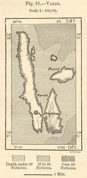 Associate Product Vardo island. Norway. Sketch map. SMALL 1885 old antique plan chart