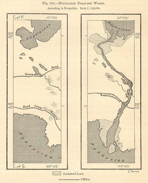 Höytiäisenkanava. Lake Pyhäselkä. Northern Karelia. Finland. Sketch map 1885