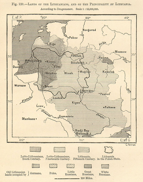 Associate Product Lithuanian lands & the Principality of Lithuania per Dragomanov. Sketch map 1885