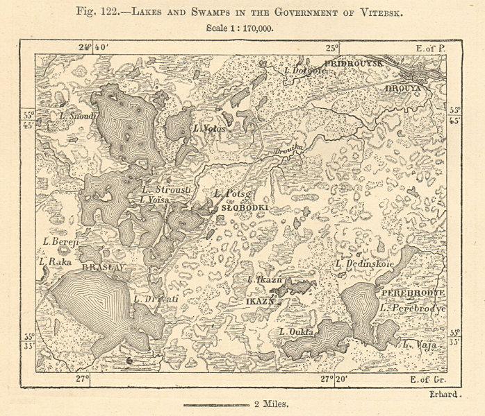 Braslav or Braslaw Lakes. Belarus. Sketch map 1885 old antique plan chart