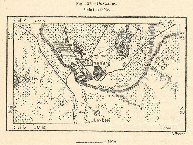Associate Product Dunaburg. Daugavpils & environs. Latvia. Sketch map 1885 old antique chart