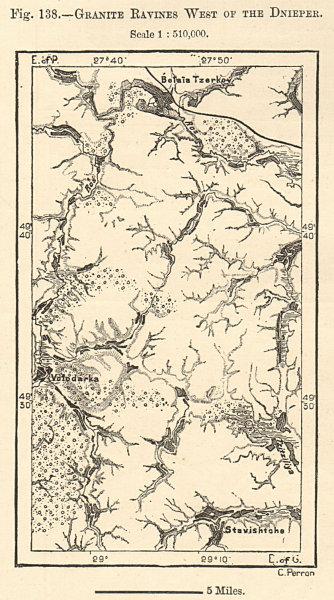 Associate Product Granite ravines west of the Dnieper. Ukraine. Sketch map 1885 old antique