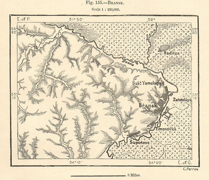 Bransk. Bryansk & environs. Russia. Sketch map 1885 old antique plan chart