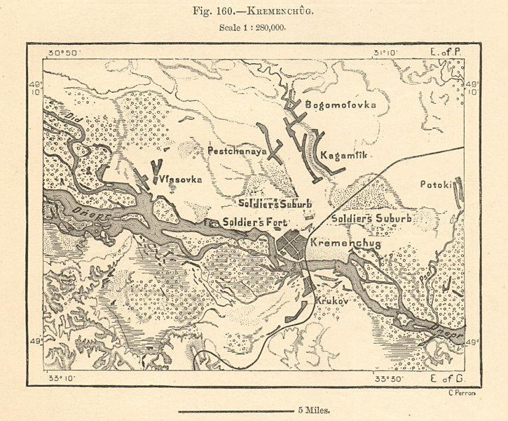 Associate Product Kremenchug. Kremenchuk& environs. Ukraine. Sketch map 1885 old antique