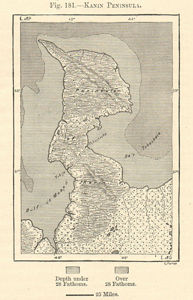 Associate Product Kanin Peninsula. Russia. Sketch map 1885 old antique vintage plan chart