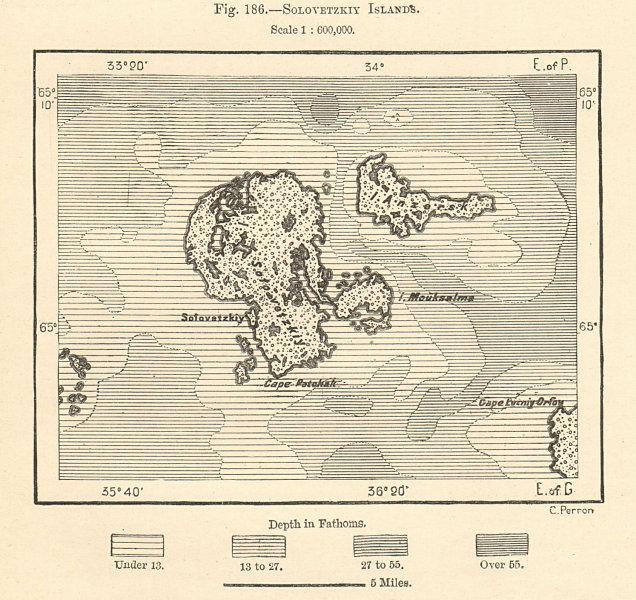 Solovetzkiy Islands. Solovetsky Islands. Russia. Sketch map 1885 old