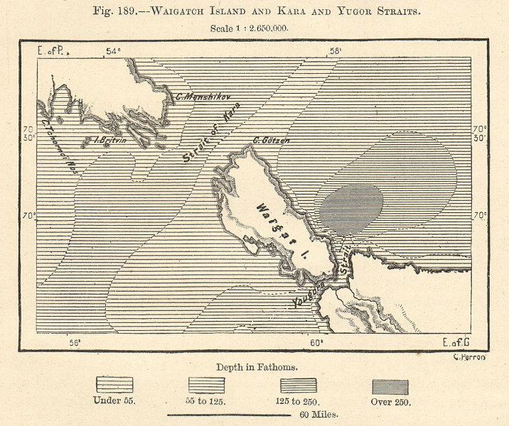 Associate Product Novaya Zemlya & Vaygach Island. Kara & Yugorsky Straits. Russia. Sketch map 1885