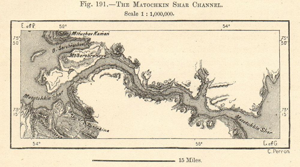 Associate Product Matochkin Strait/Shar. Severny Yuzhny Novaya Zemlya Russia Sketch map SMALL 1885