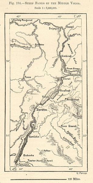 Steep Banks of the Middle Volga. Samara Saratov Kazan. Russia. Sketch map 1885