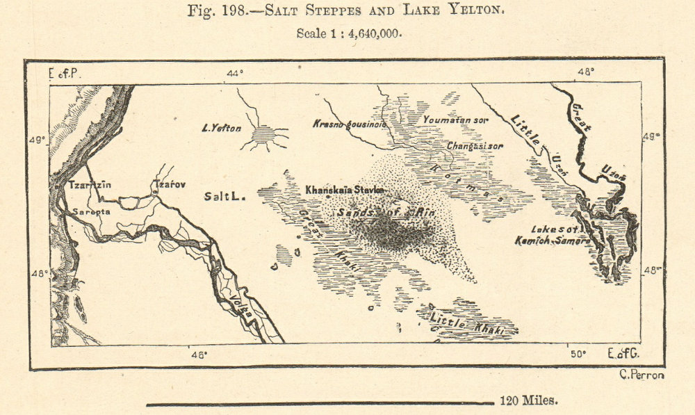 Associate Product Salt Steppes and Lake Elton. Russia Kazakhstan. Sketch map 1885 old