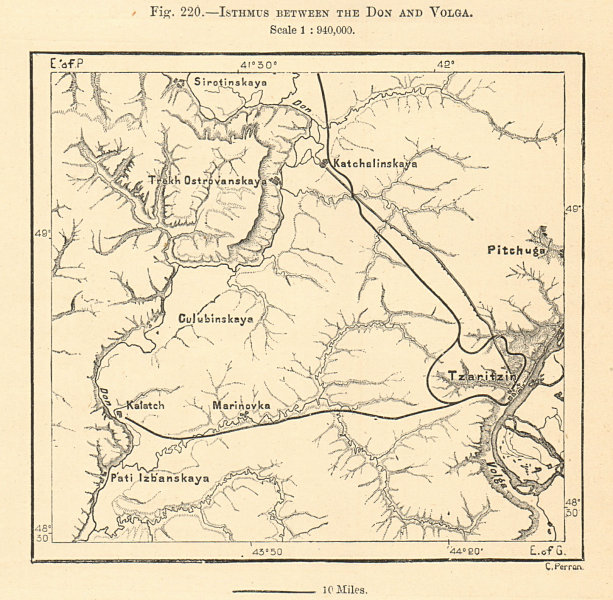 Associate Product Isthmus Between the Don and Volga. Volgograd. Russia. Sketch map 1885 old