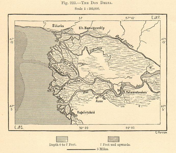 The Don Delta. Azov. Rostov-on-Don. Russia. Sketch map 1885 old antique