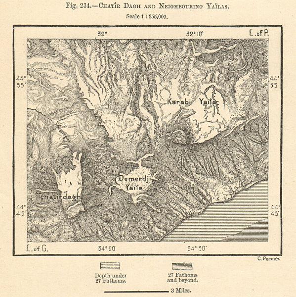 Associate Product Chatyr-Dag,Demirji & Karabi Yaylas. Crimean Mountains. Ukraine. Sketch map 1885