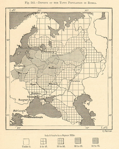 Associate Product Density of the Town Population in Russia. Poland Ukraine. Sketch map 1885