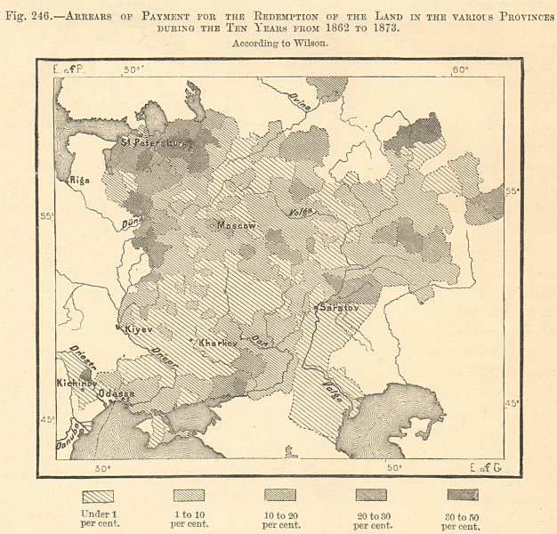 Associate Product Russia. Payment arrears for land redemption 1862-73. Sketch map 1885 old