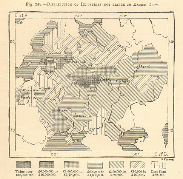 Associate Product Distribution of Industries Not Liable to Exise Duty. Russia. Sketch map 1885