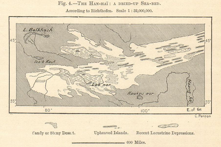 Han-Hai. Dried up sea-bed. North West China. Qinghai. Kokonor. Sketch map 1885