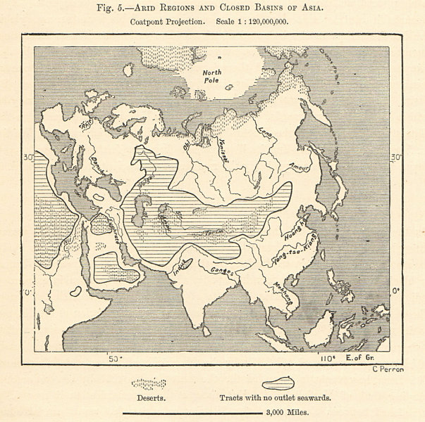 Associate Product Arid Regions and Closed River Basins of Asia. Sketch map 1885 old antique
