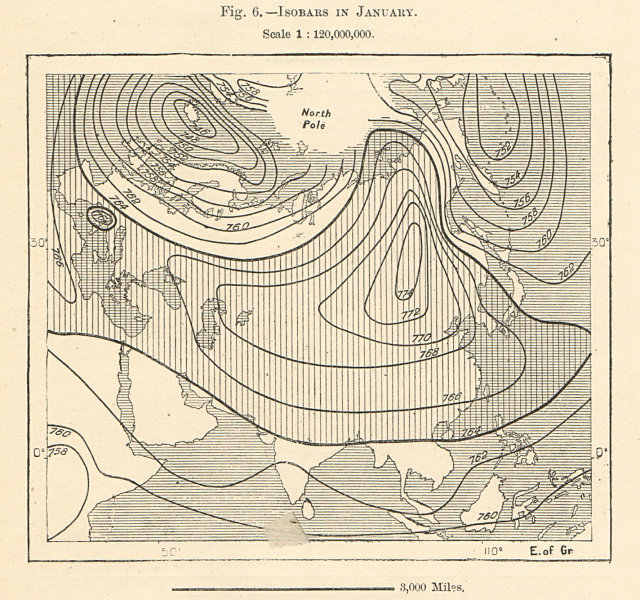 Associate Product Isobars in January. Asia. Sketch map 1885 old antique vintage plan chart