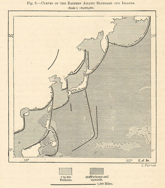 Associate Product Curves of Eastern Asiatic Seaboard & Islands Russia Japan China. Sketch map 1885