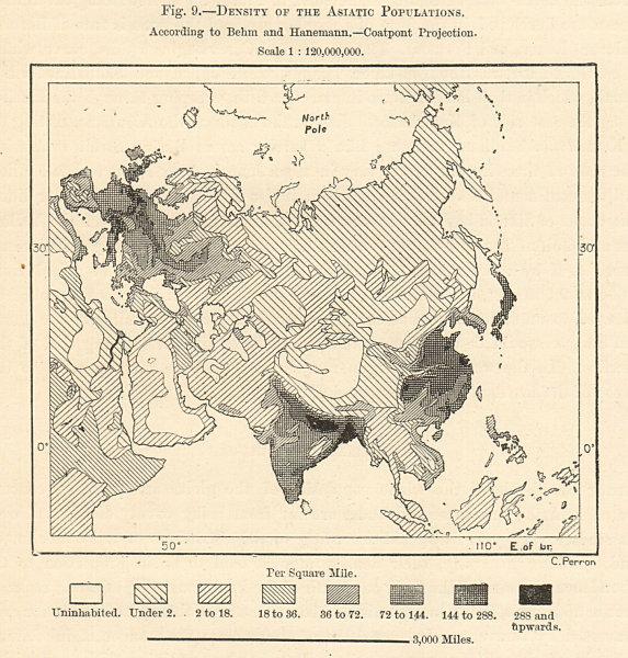 Associate Product Asia Population Density. Behm & Hanemann. Coatpoint Projection. Sketch map 1885