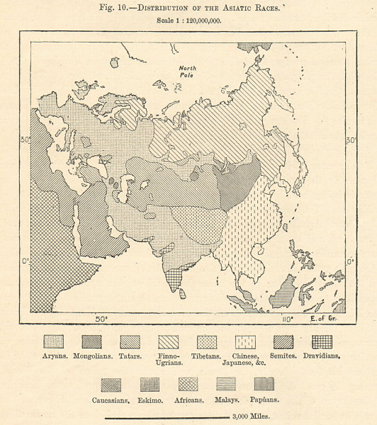 Associate Product Asia ethnic racial. Sketch map 1885 old antique vintage plan chart