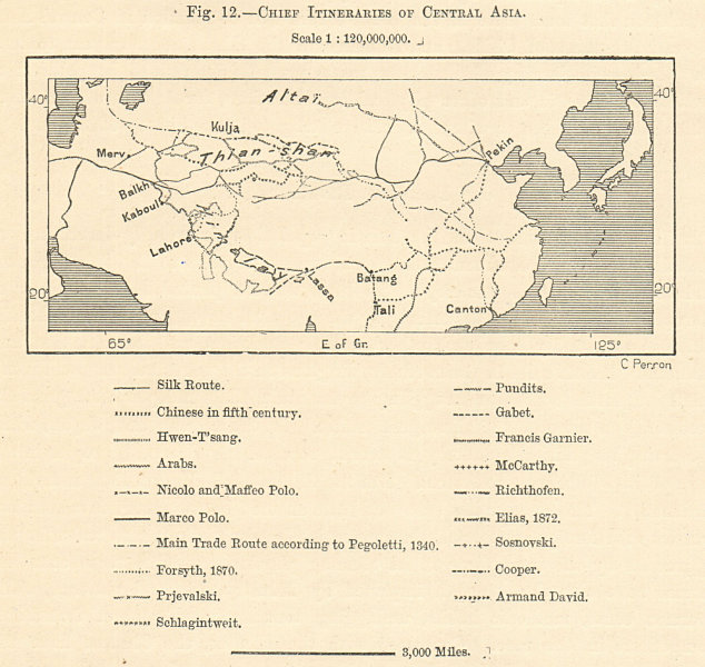 Associate Product Chief Itineraries of Central Asia. Silk route. Explorers trade. Sketch map 1885