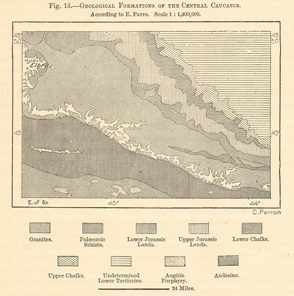 Associate Product Geological Formations of the Central Caucasus. Georgia. Sketch map 1885