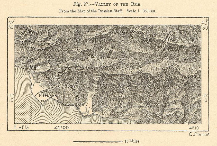 Associate Product Bzyb river valley, Abkhazia, Georgia. Pitsunda. Sketch map 1885 old