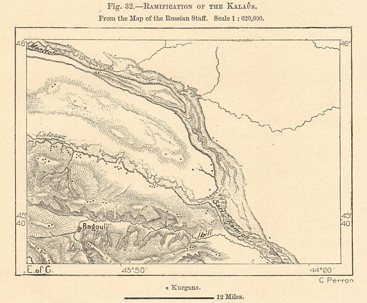 Associate Product Kalaus& Manych River confluence. Stavropol Krai. Russia. Sketch map 1885