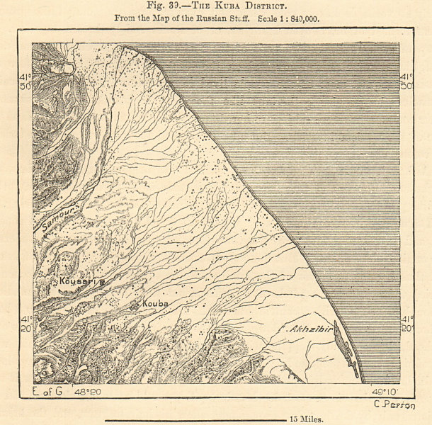 Associate Product Quba & Qusar environs, Azerbaijan. Sketch map 1885 old antique plan chart