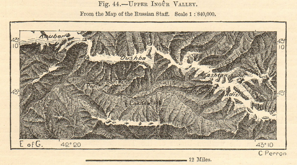Associate Product Upper valley of the river Ingur (Enguri), Georgia. Sketch map 1885 old