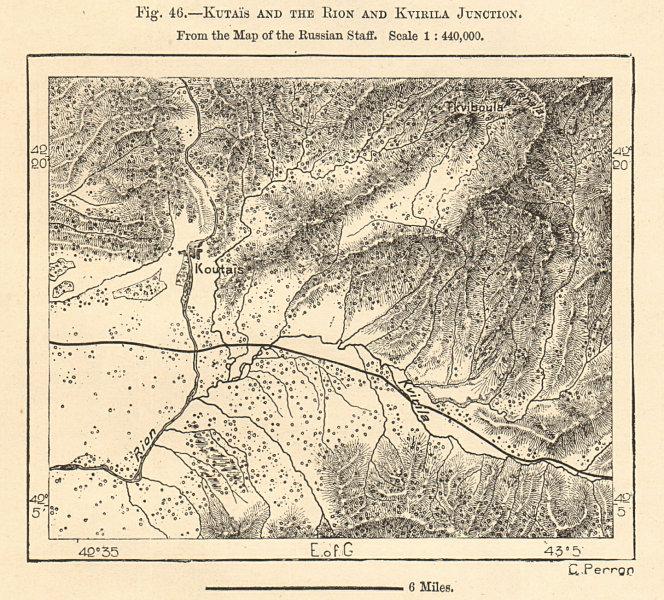 Associate Product Kutaisi and the Rioni & Kvirila confluence, Georgia. Sketch map 1885 old