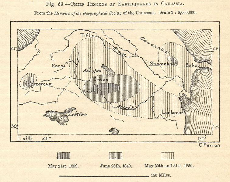Associate Product Caucasus 1840/59 earthquakes. Azerbaijan Armenia Georgia Turkey. Sketch map 1885