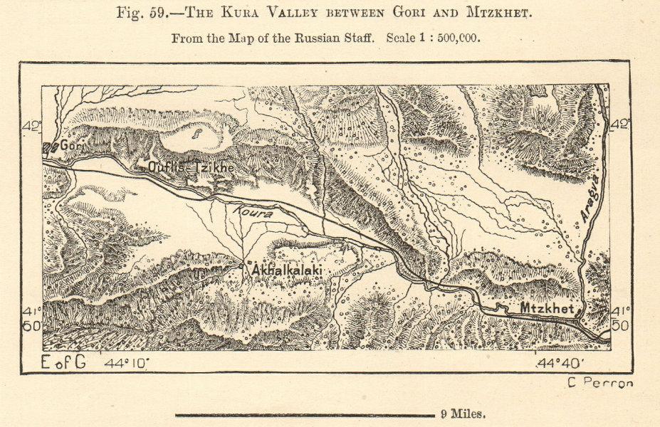 Associate Product Gori, Mtzkhet (Mtskheta) & Kura (Mtkvari) valley, Georgia. Sketch map 1885