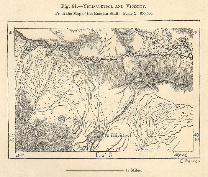 Associate Product Yelizavetpol (Ganja) & river Kura (Mtkvari), Azerbaijan. Sketch map 1885