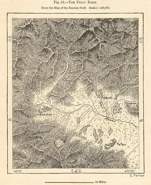 Associate Product Akhmeti (Akhmeta), Telavi & Afazan (Alazani) valley, Georgia. Sketch map 1885