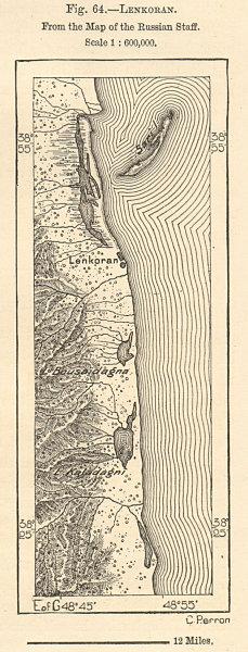 Associate Product Lenkoran (Lankaran) & surrounding coastline, Azerbaijan. Sketch map 1885
