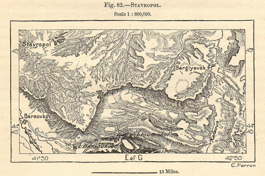 Associate Product Stavropol & Sergiyevsk (Sergiyevskoye). Kalaus river, Russia. Sketch map 1885