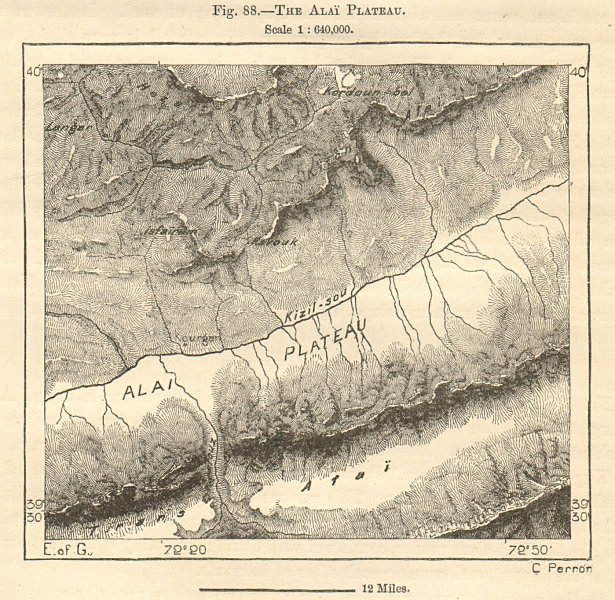 Alai (Alay) plateau & valley, Kyzyl-Suu river, Kyrgyzstan. Sketch map 1885