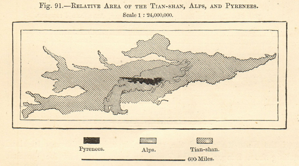 Associate Product Tian Shan Alps Pyrenees area comparison. KyrgyzstanChina Sketch map. SMALL 1885