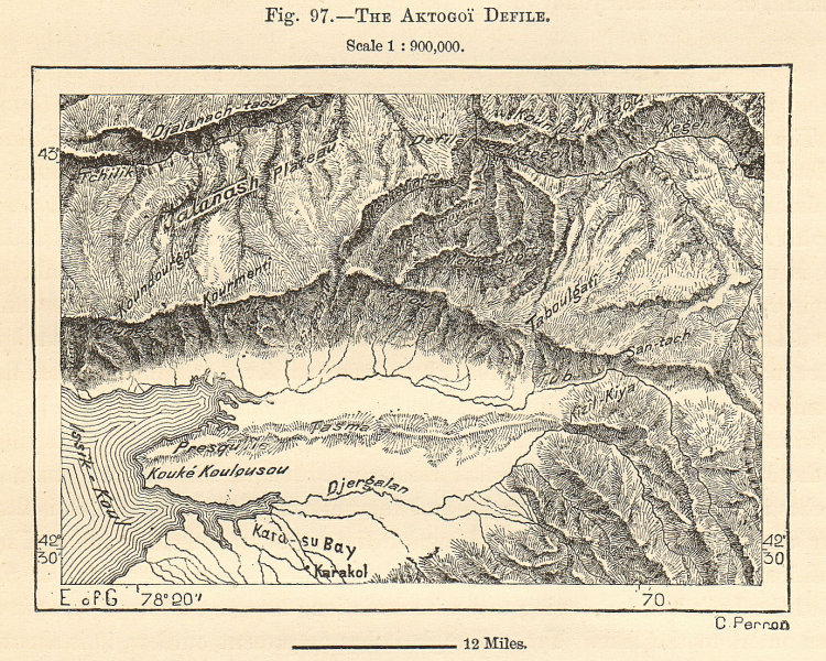 Associate Product Aktogoi Defile Lake Issyk-Kul Dzhergalan. Kyrgyzstan Kazakhstan. Sketch map 1885