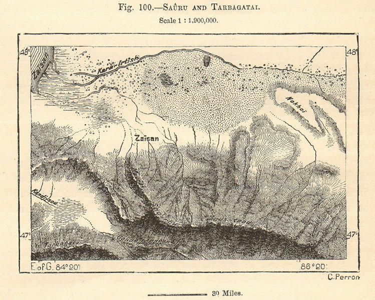 Associate Product Sauru and Tarbagatay. Zaysan, River Irtysh. Kazakhstan China. Sketch map 1885