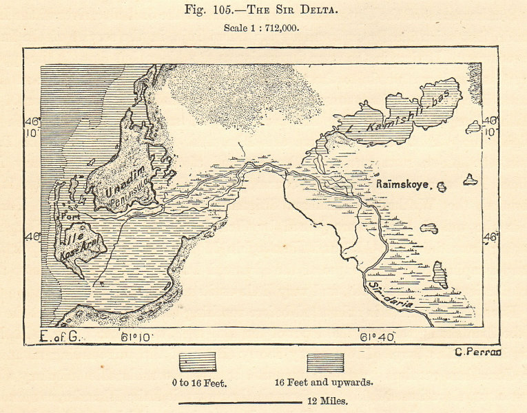 Associate Product Syr Darya delta & Lake Qamystybas, Aral Sea. Kazakhstan. Sketch map 1885