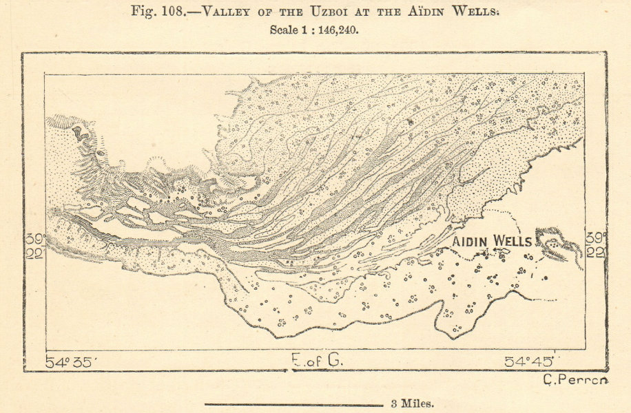 Associate Product Dried-up Uzboy river, Aidin Wells, Turkmenistan. Sketch map 1885 old