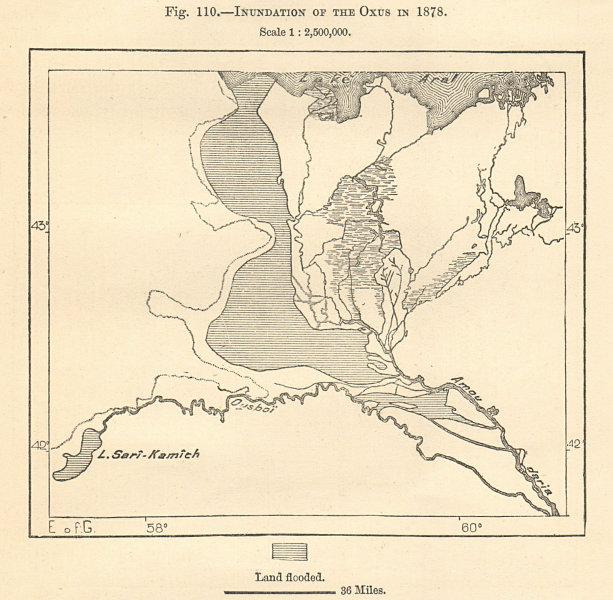 1878 Oxus (Amu Darya) flood. Aral Sea Lake Sarygamysh Uzbekistan Sketch map 1885