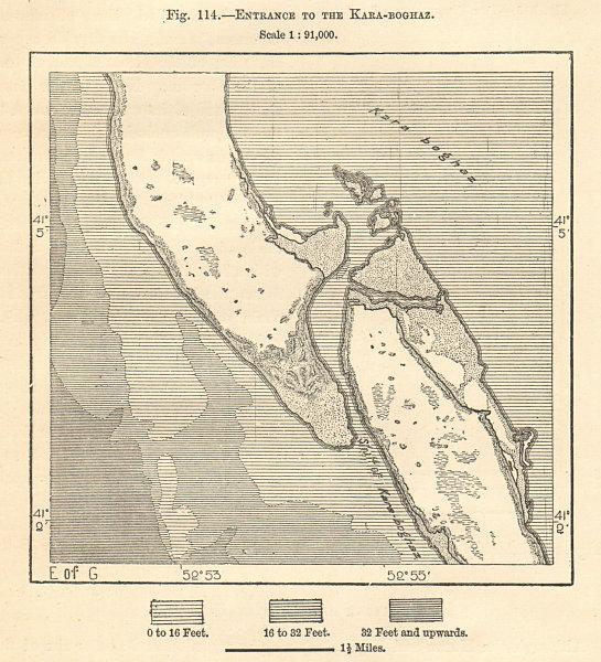 Associate Product Entrance to the Garabozaskol Basin, Caspian Sea. Turkmenistan. Sketch map 1885