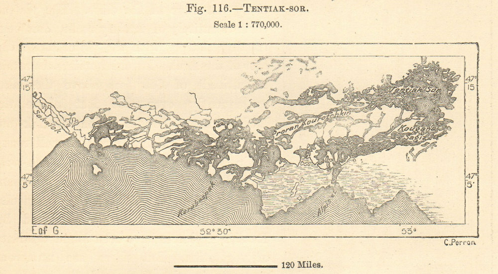 Associate Product Tentiak-sor, Proran Kourotchkin, Caspian Sea. Kazakhstan. Sketch map 1885